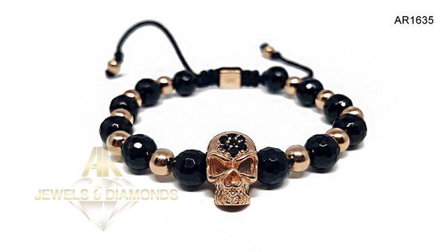 Bratara Aur Rose cu Diamante Negre Skull Collection ARJEWELS(AR1635)