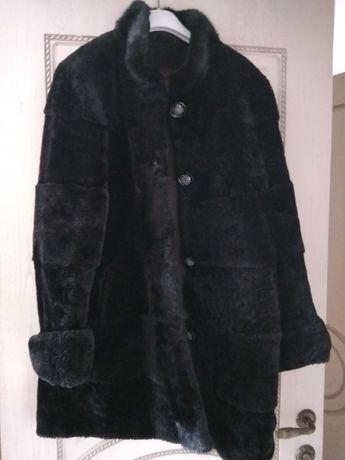 Шуба мутон размер 56.  Вязанное пальто