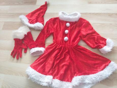 Rochiță de crăciunița - cu mănuși si caciulita