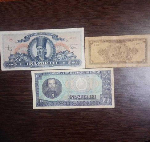 Bancnote 1000 lei 1948; 1 leu 1952 RPR; 100 leu 1966 RSR