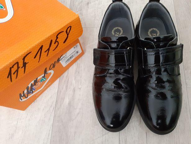 Туфли черные, натуральная кожа лакированная детские/подростковые