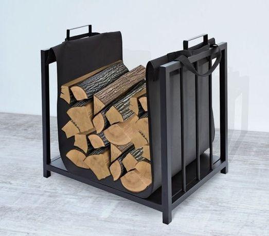 Suport cos metalic elegant lemne pentru sobe si seminee, culoare negru