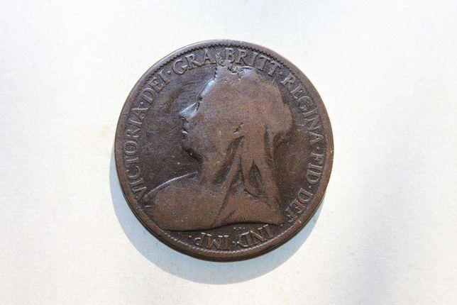 moneda one penny 1897 UK Victoria foarte rara autentica