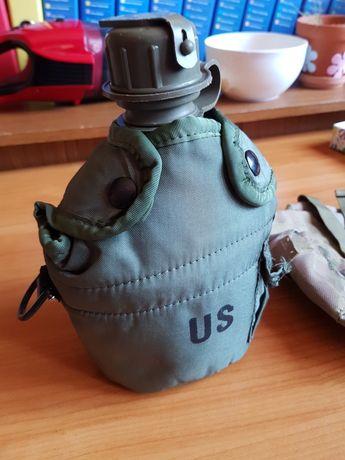Plosca / bidon militar US  1L cu gamela si husa