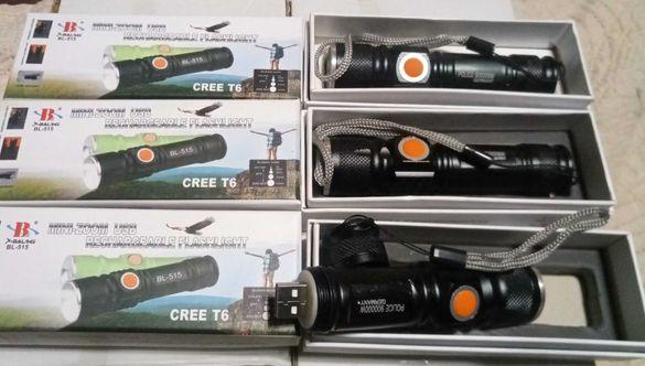 Уникален мини usb алуминиев прожектор с мощна батерия и Т6 cree диод