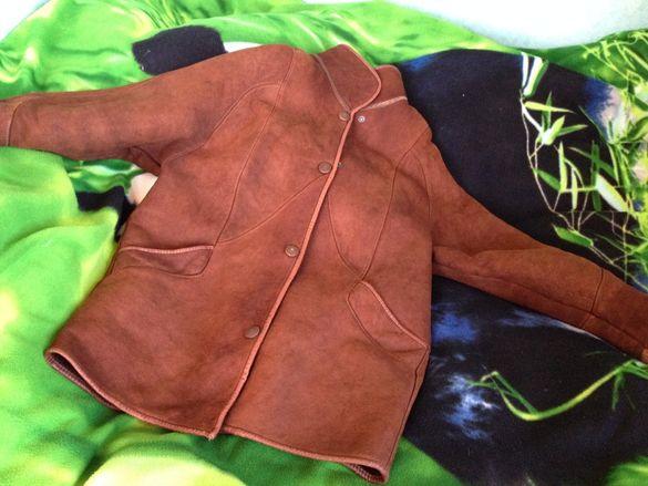 Дамски зимен кожух палто Melrose place XXL овча кожа косъм цвят коняк