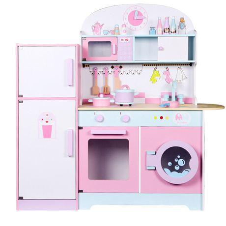 Детская кухня деревянная с холодильником