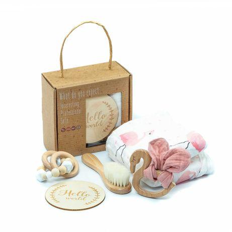 Set cadou nou născuți/bebeluși - Lebădă | Articole botez pentru fetițe