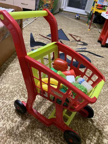 Игрушки, Тележка с фруктами, овощами, касса , кассовый аппарат