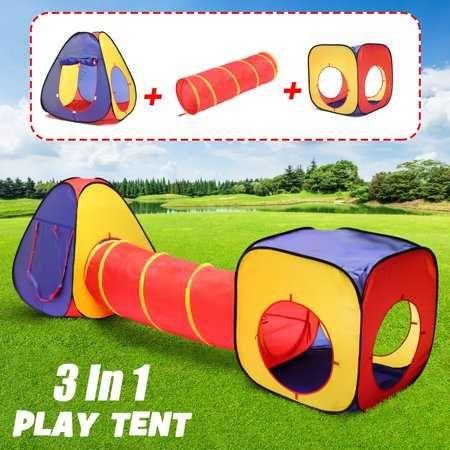 Детска шарена палатка от 3 части с тунел