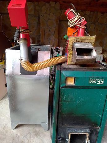 Продавам оборудван котел за парно -пелети, дърва, въглища