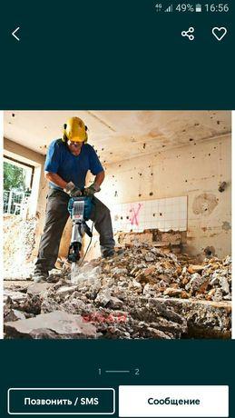 Демонтаж бетон стена проём окон