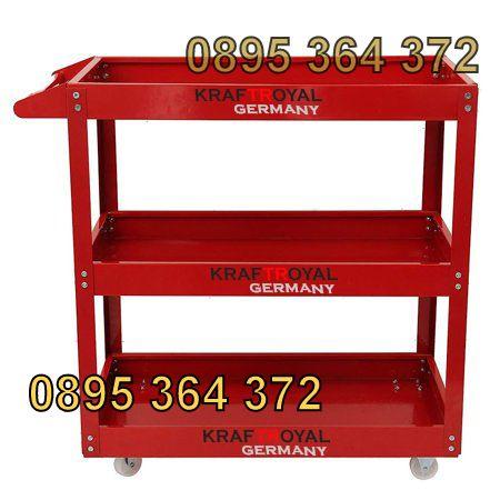 Немска Количка за Инструменти помощна 3 нива KrafT Royal - Червена
