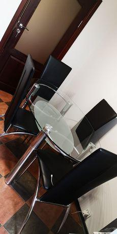 Комплект маса с 4 кожени стола