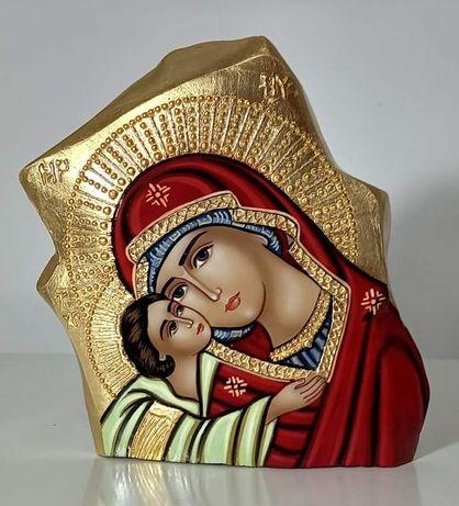 Icoana pe piatra Maica Domnului cu Iisus Hristos