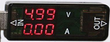 Voltmetru/ampermetru USB - 3-9V/0-3A c.c.