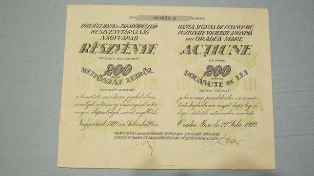 Actiune veche,Oradea,1922,Banca si Cassa de Economie,200 LEI.