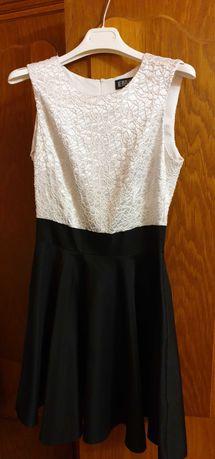 Rochie eleganta, casual, alb negru, S, cloche