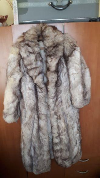 Промоция 100% естествен косъм Дълго палто от сребърна лисица