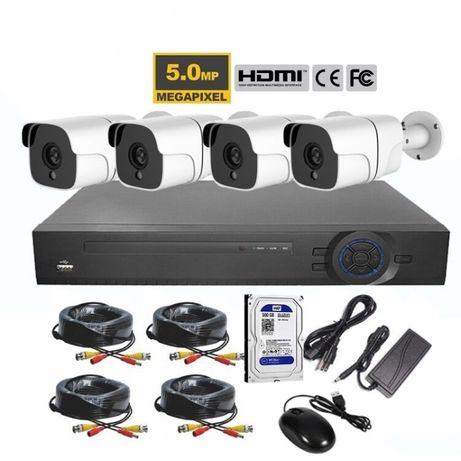Sistem supraveghere 5 mpx 4Camere + HDD 500GB IR80M HDMI Color Complet