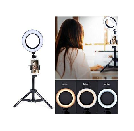 Lampa LED video 16cm cu suport telefon ring light youtube vlog make-up
