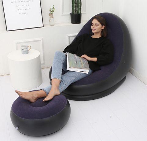 Надувное кресло с пуфом, кресло