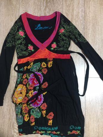 Rochie Desigual multicolora, cu cordon, cu buzunare, marimea 40