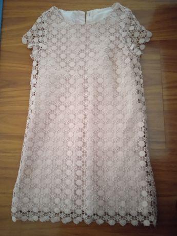 Платье кружевное коралловый