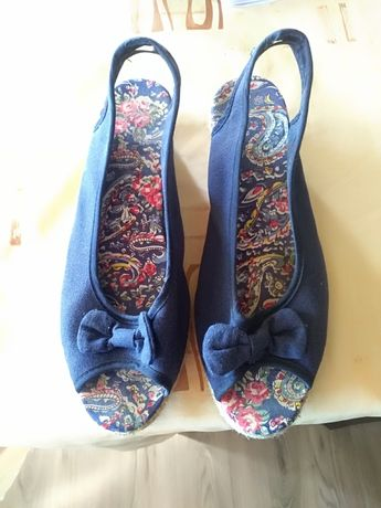 Дамски сандали сини еспадрили