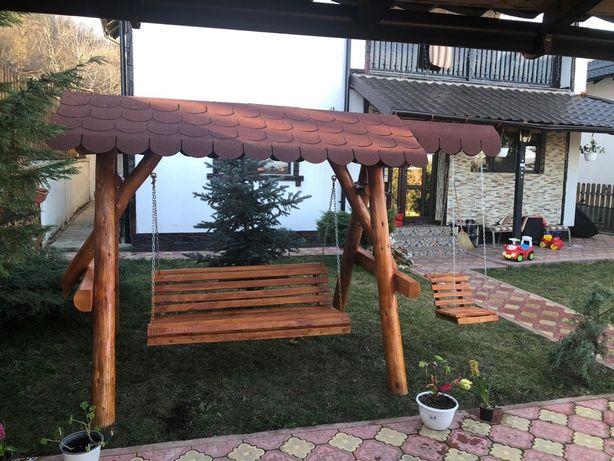 Balansoar rustic din lemn rotund