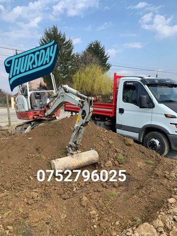 Transport ,excavari miniexcavator 2t, fosa septica inchiriez scule