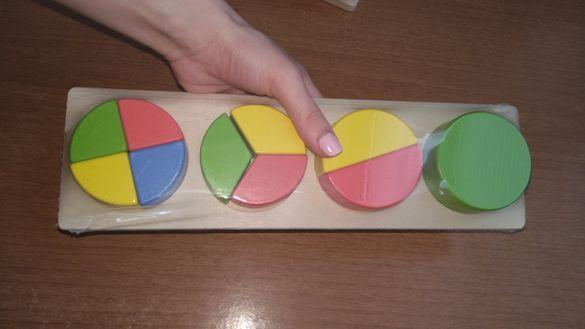 Големи Дървени геометрични фигури кръгове Монтесори Материали