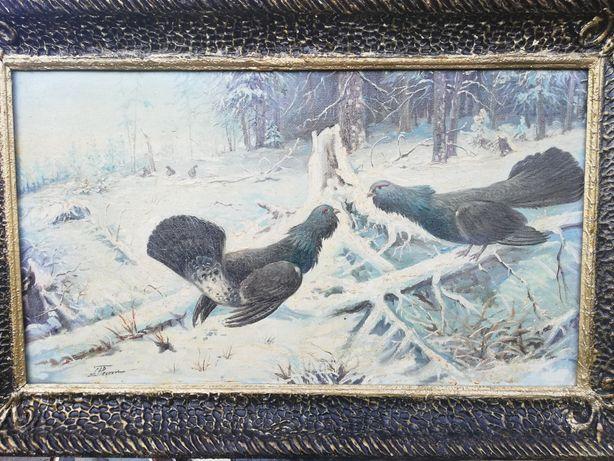 """"""" Cocoși de munte """", tablou de colecție, unicat, peisaj de iarnă, 1981"""