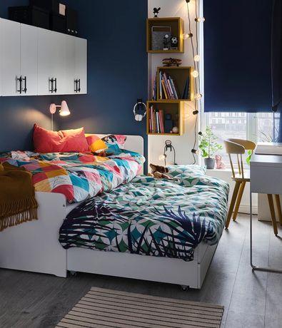Кровать с выдвижной кроватью, белая, 90×200см