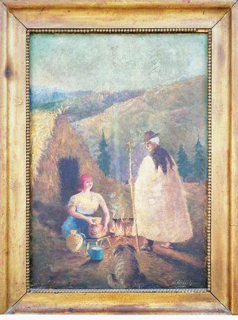 Pictură în ulei - La stână