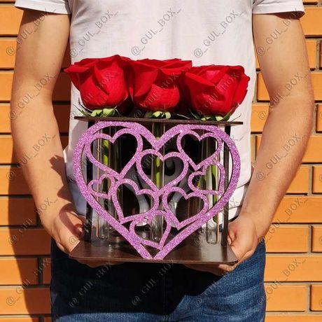 Подставка Бокс ! Подарок с эффектом wow! для Роз и других цветов!