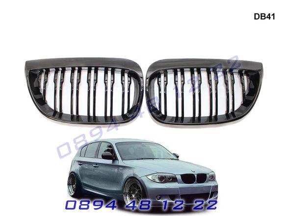 Двойни M Бъбреци Решетки BMW 1 E87 2004 до 2007 БМВ Е87 Черен Гланц