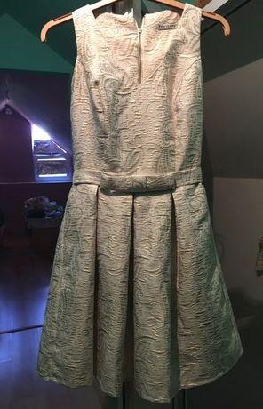 Rochie de ocazie ivoire cu fir auriu, midi, mărimea 36
