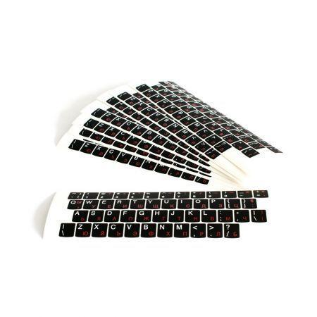 Стикери за лаптоп клавиатура US+БДС /кирилица/черен мат