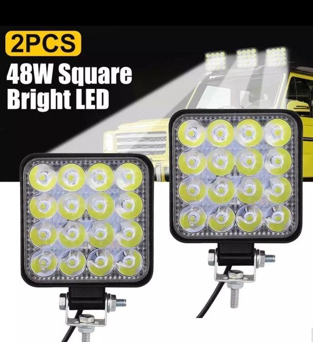 Set 2 Proiectoare LED auto Off Road ATV Tractoare Camioane Remorci 48W Suceava - imagine 1