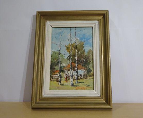 Tablou, Ion Hultoană - Ţărăncuţă în faţa casei