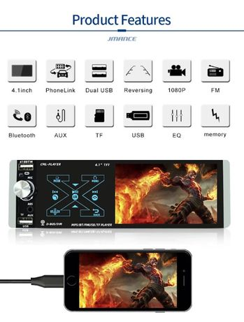"Casetofon Video 4,1"" DVD Mp3 Auto 1Din USB- Navigatie prin Mirrorlink"