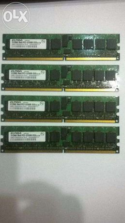 Memorii DDR2-ELPIDA 4x512Mb 1Rx8 PC2-3200R-333-400MHz (kit de 2Gb)