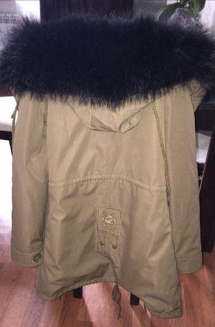 Парка бежевая куртка зимняя с натуральным мехом