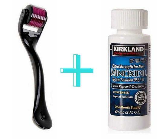 Minoxidil Kirkland 5%, 1 lună aplicare +Dermaroller, Barba si Alopecie