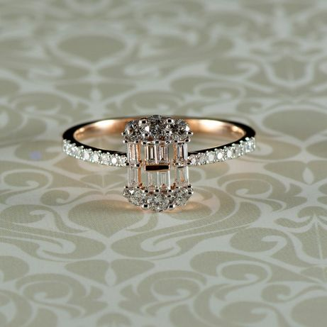 Inel cu diamante, 2,47 grame aur roz 18k (cod 8247)