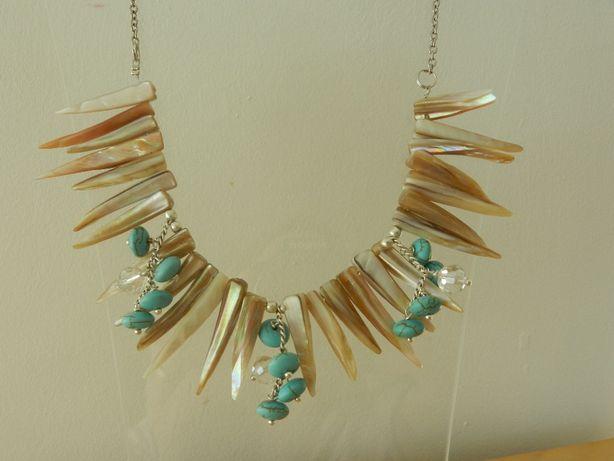 Colier turcoaze, cristale, sidef natural , 47 cm