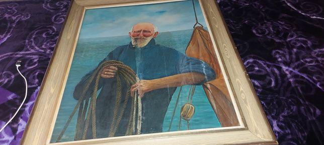 Vând tablou vechi pictura pe ulei si panza