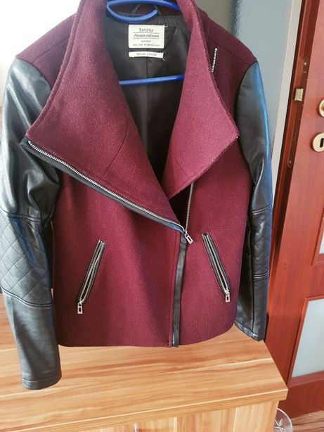Palton cu maneci de piele dama