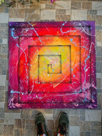 Tablou decorativ pictat manual abstract acrilic original 3D modern